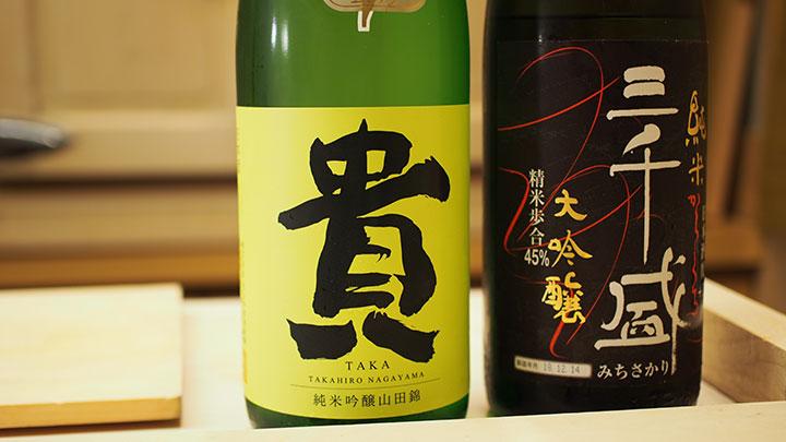 左:「貴 純米吟醸」山口/永山本家酒造場 右:「三千盛 純米大吟醸」岐阜/株式会社三千盛